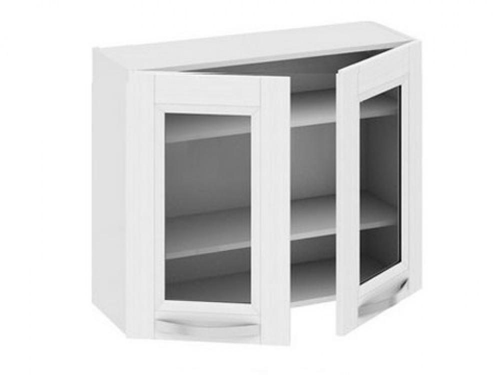 двухстворчатый навесной кухонный шкаф со стеклом на заказ в